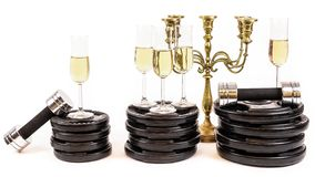 New Year Resolution. Celebrate new years eve at the gym. royalty free stock image