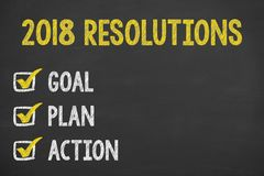 New Year 2018 Resolution Check List on Blackboard. New year working stock photography