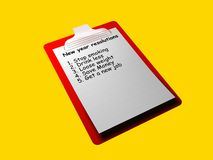 New year resolution check lists. A check list that shows a check list of new year resolutions royalty free illustration