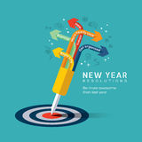 New year resolution concept illustration. With dart pinned at center of bullseye target in flat design icons style royalty free illustration
