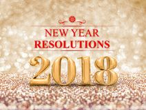 New year resolution 2018 3d rendering on gold sparkle glitter. Perspective floor to blur gold sparkling bokeh abstract background,holiday greeting card.business royalty free illustration