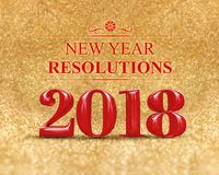 New year resolution 2018 3d rendering on gold sparkle glitter. Perspective floor to blur gold sparkling bokeh abstract background,holiday greeting card.business stock illustration