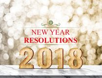 New year resolution 2018 3d rendering on marble table at gold. Sparkle bokeh abstract background,holiday greeting card royalty free stock photography