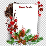 New Year Resolution and Goals hand written on curl paper. Motivation concept. A letter to Santa Claus template stock illustration
