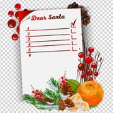 New Year Resolution and Goals hand written on curl paper. Motivation concept. A letter to Santa Claus template vector illustration