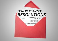 New year resolution goals in a red envelope. List of new year resolution goals in a red envelope against white background Royalty Free Stock Photos