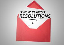 New year resolution goals in red envelope. List of new year resolution goals in red envelope against white background Royalty Free Stock Photo