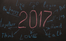New Year Resolution  Goals written on a blackboard Royalty Free Stock Images