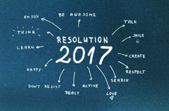 New Year Resolution 2017 Goals written on blue cardboard Stock Photo