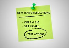New year resolution goals written on sticky notes. Against white background Stock Photography