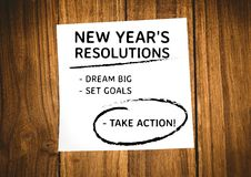 New year resolution goals written on sticky notes Royalty Free Stock Images