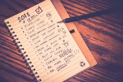New year resolution list. Photograph of a notebook with resolutions list for new year 2018 Royalty Free Stock Photography
