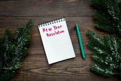 New year resolution. Notebook neat spruce branch on dark wooden background top view.  stock photography