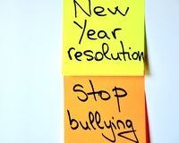 New year resolution: stop bullying. New year resolution : stop bullying. bully concept Stock Photos