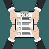 2018 new year resolution and target business check list together planning royalty free illustration