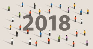 2018 new year resolution and target crowd looking together vision Stock Image