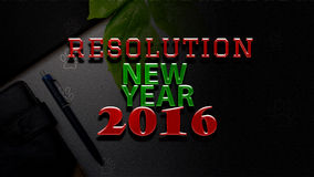 New year 2016 resolution text. On office stationary background Stock Photos