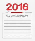 2016 new year resolution on white paper with pencil and drawing Royalty Free Stock Images