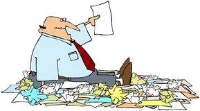 New Year Resolutions. This illustration depicts a man sitting in a pile of papers and holding one up Royalty Free Stock Images
