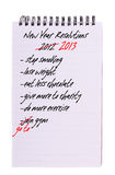 New Year Resolutions - again, list isolated Stock Photo