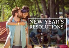 New year resolutions against couple kissing in background. List of new year resolutions against couple kissing in background royalty free illustration