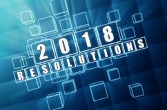 New year 2018 resolutions in blue glass blocks. New year 2018 resolutions - text in 3d blue glass boxes with white figures, business holiday concept vector illustration