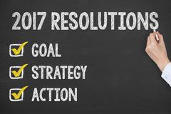 New Year 2017 Resolutions on Chalkboard Background Stock Photos