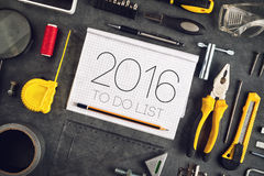 2016, New Year Resolutions Craftsman Workshop Concept Stock Image