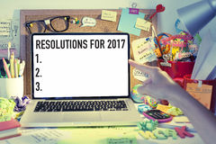 New year resolutions for 2017. New year resolutions, goals, aspirations, plans list on laptop stock image