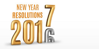 New Year Resolutions 2016 gold number year change to 2017 new ye. Ar in white studio room, New year concept,3D rendering, Leave space for display your content Royalty Free Stock Photo