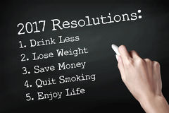 New year resolutions. Hand holding a chalk and writing 2017 resolutions royalty free illustration