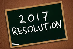 New Year 2017 Resolutions. Illustration image of 2017 New Years Resolutions written with chalk on blackboard, chalkboard design, future goals Stock Photos