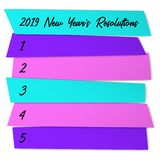New Year Resolutions sticky notes vector template. New Year Resolutions list vector template for goals. Life organization board. New start chance, year royalty free illustration