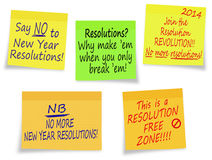 New Year Resolutions, no thanks - assorted messages. Not everyone loves resolutions! Individual sticky notes easily removed from background for placement royalty free illustration