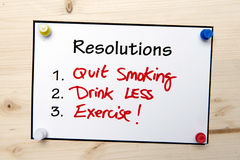 New year Resolutions Note Stock Photos