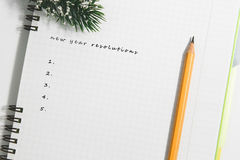 new year resolutions, Notebook and yellow pencil with conifer br Stock Photos