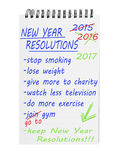 New year resolutions 2017 on notepad. List of improving intentions. Lose weight, exercise more, get fit etc. Aspirational goals Royalty Free Stock Photos