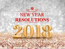 New year resolutions 2018 year number 3d rendering at sparkl. Ing golden and silver glitter studio background ,Holiday Greeting card stock illustration