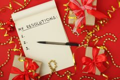 Free New Year Resolutions Plan In A Notebook Stock Images - 132899624