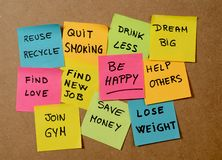 New Year resolutions or popular Goals and colorful sticky post its memo notes on cork board royalty free stock images