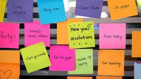 New year resolutions post it Royalty Free Stock Photo