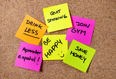 New year Resolutions Post it notes Stock Image