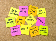 New year Resolutions Post it notes Royalty Free Stock Photography