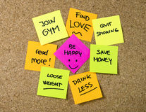 New year Resolutions Post it notes Royalty Free Stock Photos