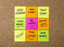 New year Resolutions Post it notes Royalty Free Stock Image