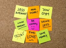 New year Resolutions Post it notes Stock Photography