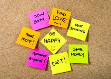 New year Resolutions Post it notes Stock Images
