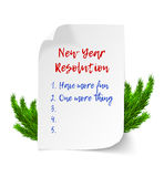 New year resolutions. Realistic vector curl paper sheet with numbered list and christmas tree brunches vector illustration