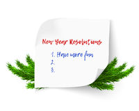 New year resolutions. New Year Resolution and Goals hand written on curl paper. Motivation concept vector illustration