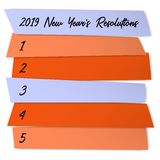 New Year Resolutions sticky notes vector template. Life organization board. New start chance, year resolution challenge concept. Annual inspiration poster royalty free illustration